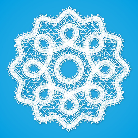 blue collar: Vector white lacy round napkin in Russian Vologda lace style