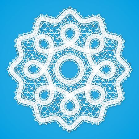 napkin: Vector white lacy round napkin in Russian Vologda lace style