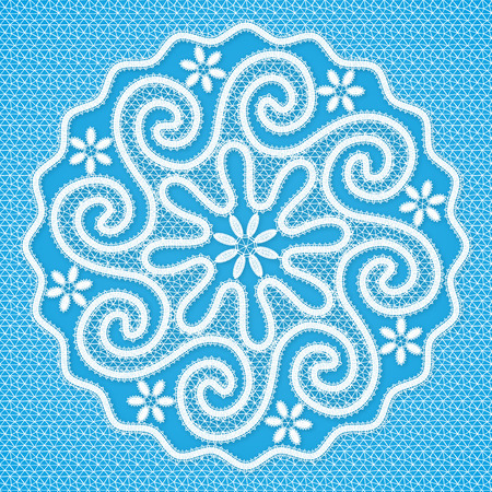 triskele: Vector white lacy round napkin in Russian Vologda lace style