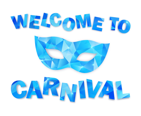 carnevale: Blue triangles vector carnival mask and sign Welcome to Carnival