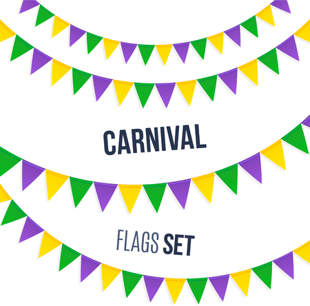 mardi gras: Vector carnival flags set isolated on white background