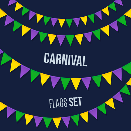 mardi gras: Vector carnival flags set isolated on dark background Illustration