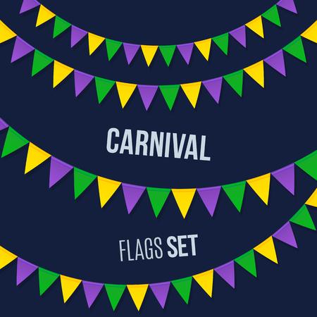 flag banner: Vector carnival flags set isolated on dark background Illustration