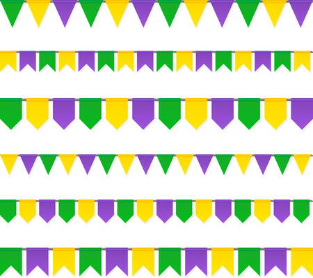 venezia: Vector carnival flags set isolated on white background