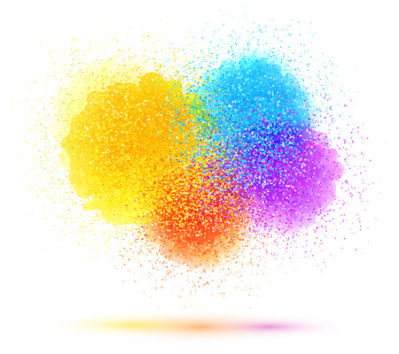 Colorful paint splash and powder vector cloud on white background