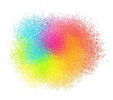sand grains: Bright neon colord paint powder vector sand texture cloud Illustration