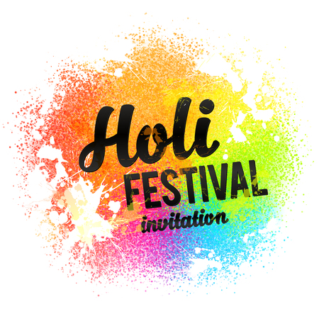 colors paint: Holi festival invitation vector black sign on rainbow colors paint powder and drops background