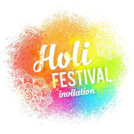 Buon segno vettore Holi su schizzi di vernice colorata e polvere di sfondo Vettoriali