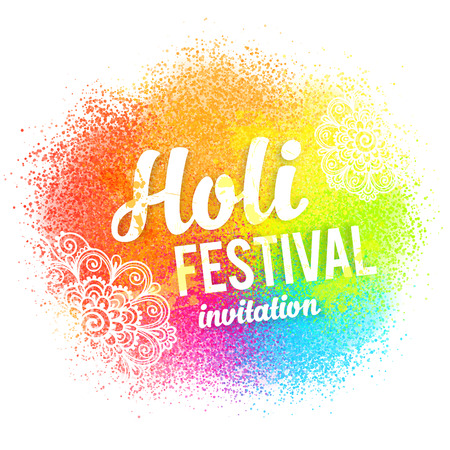 Happy Holi vector sign on colorful paint splash and powder background Illustration