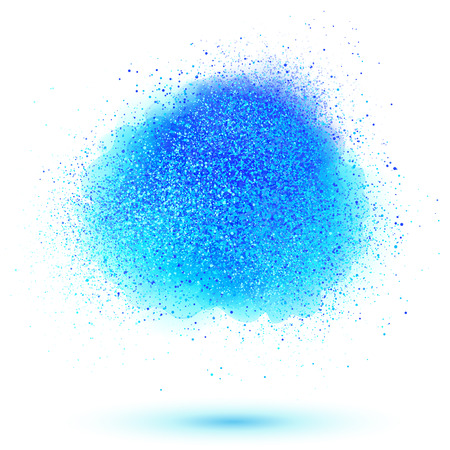 splatter paint: Blue paint powder vector cloud isolated on white background