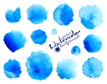 watercolor brush: Blue watercolor painted vector stains set isolated on white background