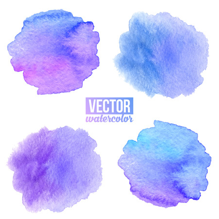 fondos violeta: Violet and blue watercolor painted stains isolated vector backgrounds set