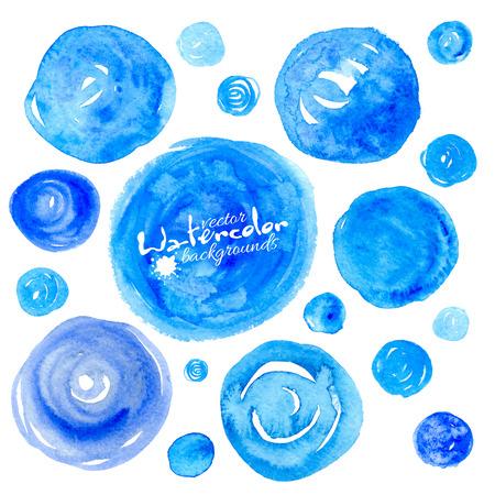 Conjunto de fondos de vector dibujado a mano con textura acuarela azul vector