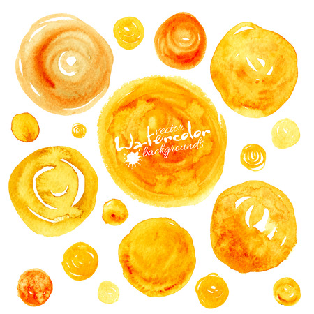 traced: Set of yellow vector traced watercolor circles backgrounds