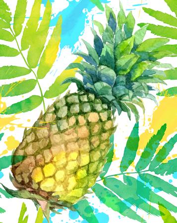 水彩画を描いた緑のパイナップルと葉手描き vectorseamless パターン