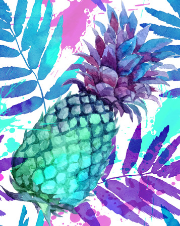 Watercolor painted vivid colors pineapples and leaves vector seamless pattern Illustration