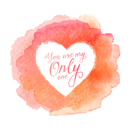 only: Blue watercolor painted stain with heart shape inside, vector frame with sign You Are Only One