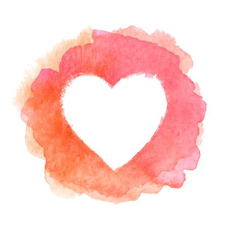 aquarelle rose en forme de coeur peint cadre vecteur Vecteurs