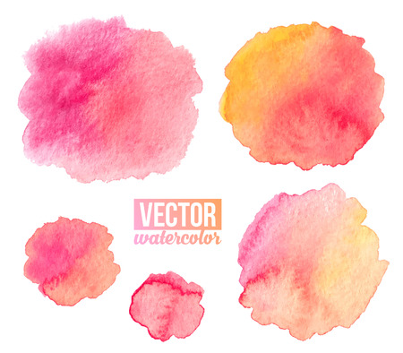 Pink watercolor stains vector isolated backgrounds set Vectores