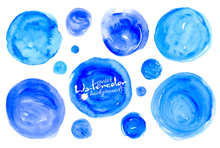 textured backgrounds: Set of blue watercolor textured hand drawn circles vector backgrounds