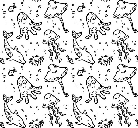 Black and white dooddle sea live vector seamless pattern
