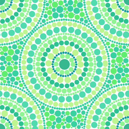 circles pattern: Green colors dotted circles vector seamless pattern