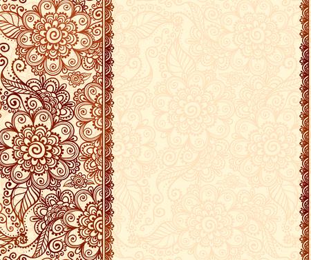 Vintage henna tatto mehndi flowers vector background Illustration