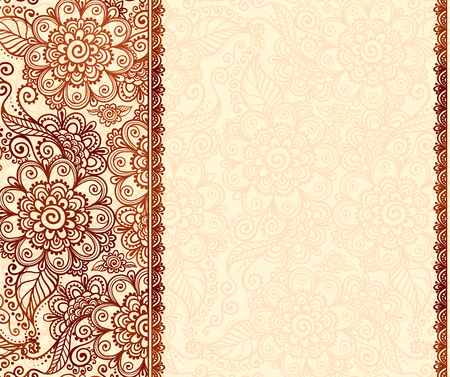 Vintage henna tatto mehndi flowers vector background