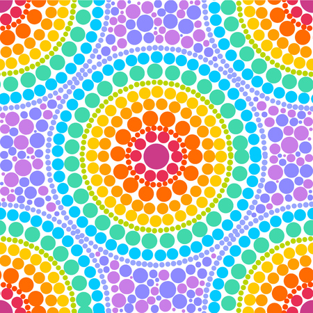 Rainbow colors concentric circles in dot art style, vector seamless pattern