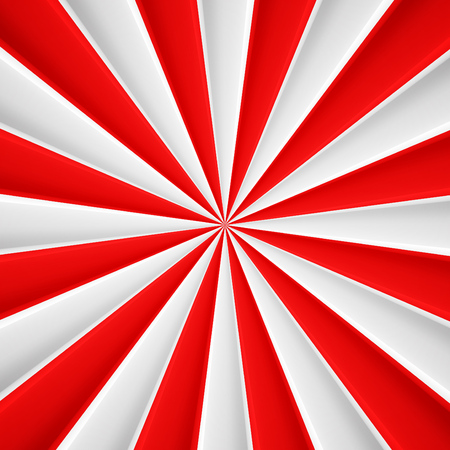 Red and white abstract rays circle vector poster background
