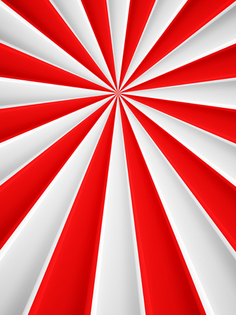red and white: Red and white abstract rays circle vector poster background