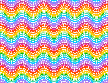 rainbow colors: Rainbow colors vector dotted waves seamless pattern