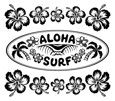 Oval surfing style label with sign Aloha Surf and hibiscus flowers vector frame