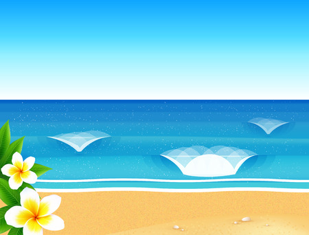 Vector sunny beach with waves and frangipani flowers Illustration