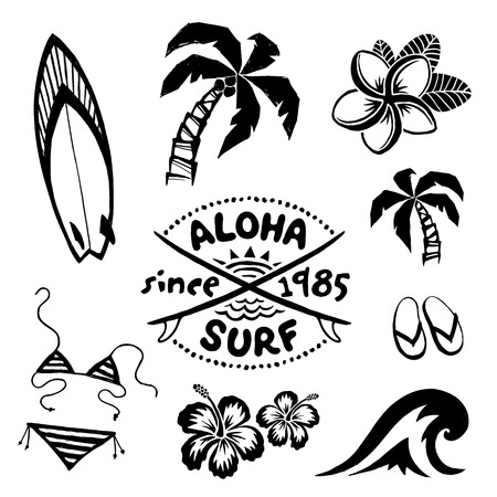 Tropical surfing and relax symbols vector ink sketch set in tattoo style 일러스트