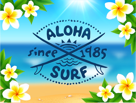 surf vector: Aloha surf vector logo template on blurred ocean waves background and frangipani flowers