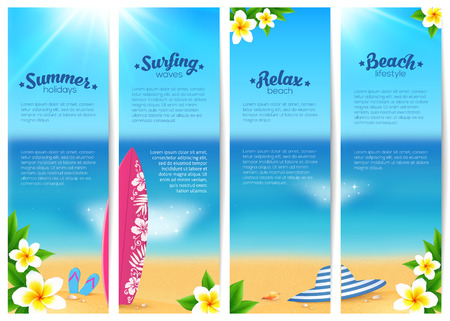pink plumeria: Set of four vector summer ocean beach vacation banners. Sea travel banners template. Illustration
