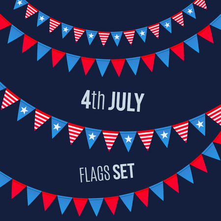 flags usa: 4th July USA Independence day vector triangular flags ropes set on dark background Illustration