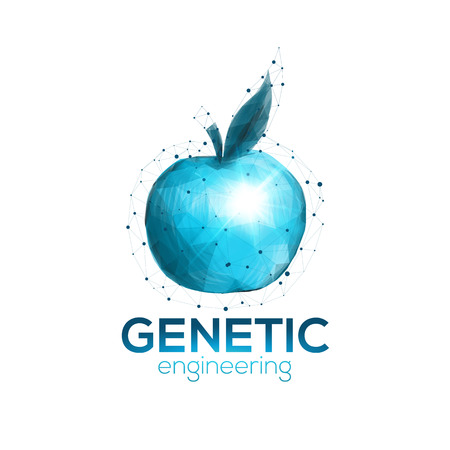 genetic research: Genetic engineering icon template with blue apple symbol