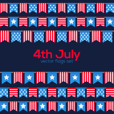 usa flags: 4th July USA Independence Day flags set Illustration