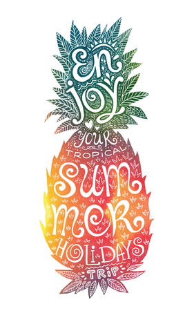 watercolour background: Bright colors hand drawn watercolor pineapple silhouette with grunge lettering inside. Motivation summer symbol with Enjoy your tropical summer holidays trip lettering.