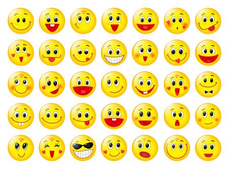 Żółte szczęśliwe twarze okrągły emotikon zestaw izolowanych na białym