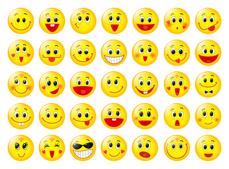 Yellow happy round emoticon faces set isolated on white