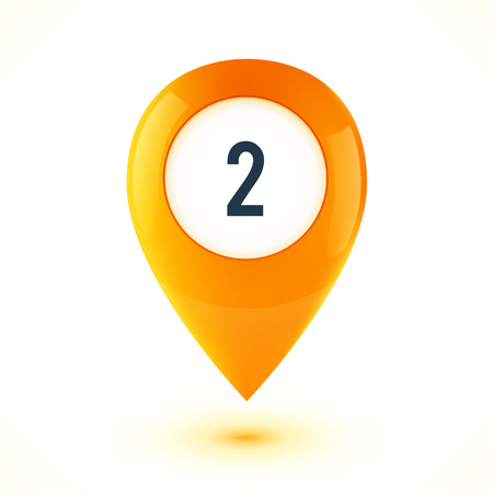 pointer: Orange realistic 3D vector glossy map point symbol. Part of colorful set.
