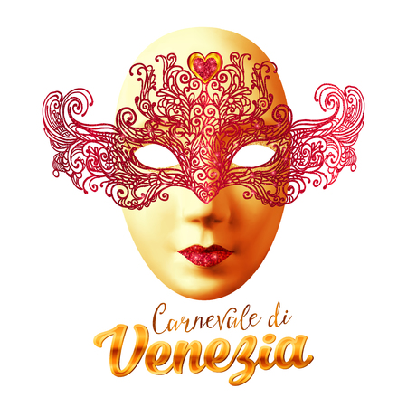venezia: Golden vector carnival mask with red lacy top and Carnivale di Venezia sign