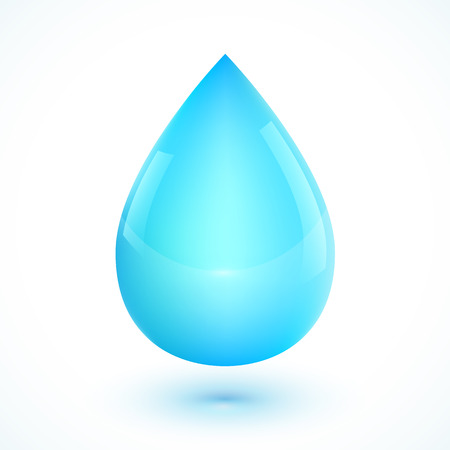 rain drop: Blue realistic vector water drop isolated on white background Illustration