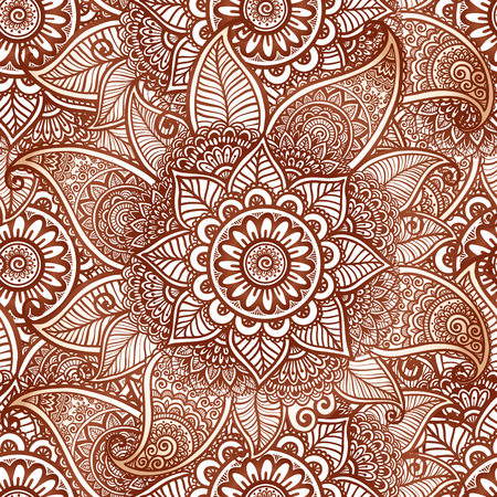Indian mehndi henna tattoo style vector seamless pattern tile