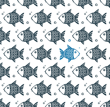 Vector seamless pattern with grunge hand drawn fishes and one opposite blue fish Illusztráció