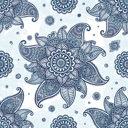 vintage fashion: Blue tribal ethnic flowers vector seamless pattern Illustration