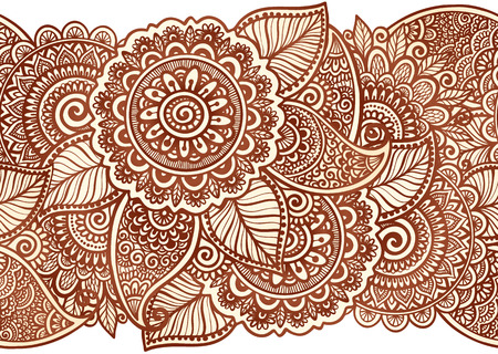 Indian henna tattoo style vector floral horizontal seamless stripe pattern